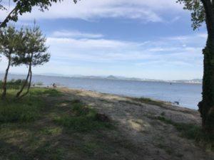 坂本城跡 琵琶湖