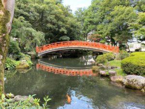 富山城址公園 橋と鯉