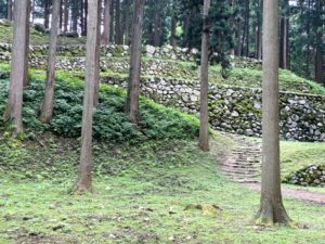 七尾城 調度丸から桜馬場石垣(望遠)