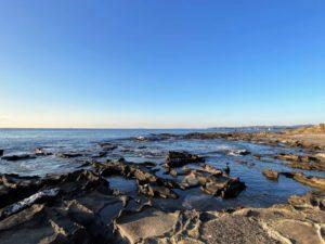 新井城址の崖下の海辺